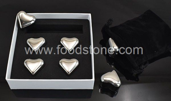 4pieces Heart Stainless Steel Ice Cubes