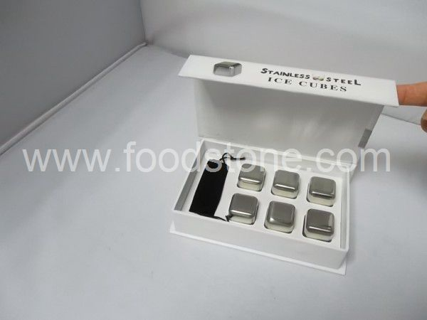 Six Stainless Steel Ice Cubes in Gift Box