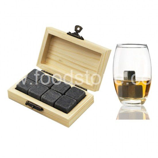 Whisky Stones in Wood Tray