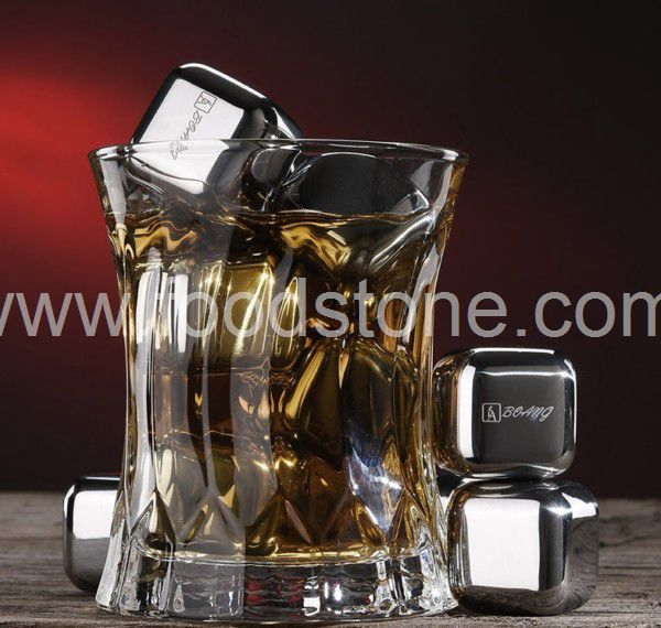 Engraved Stainless Steel Ice Cubes  (6)