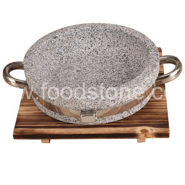 Stone Cooking Bowl with Wood Tray