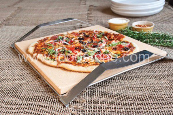 Cordierite Pizza Stone With Stainless Rack