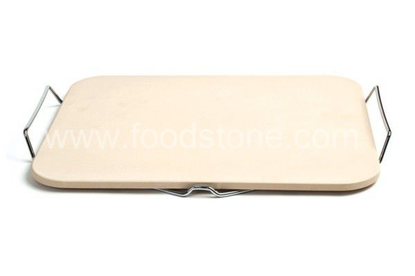 Rectangular Ceramic Pizza Stone With Serving Tray
