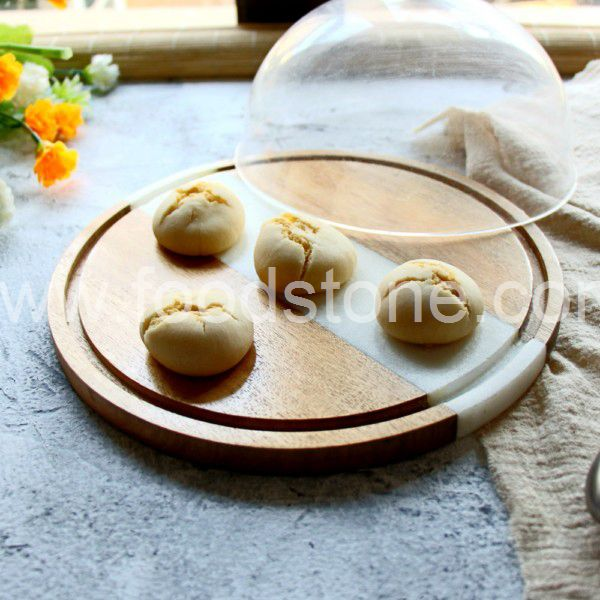 White Marble and Wood Cake Rack