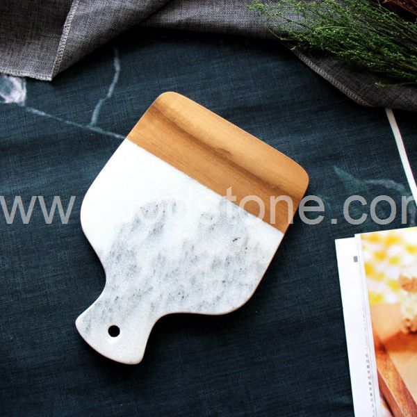 White Marble and Wood Cheese Board (4)